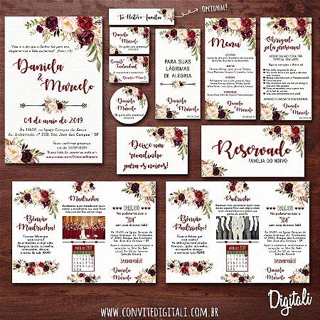 Identidade Visual Casamento Florido Marsala Completa - Arte Digital