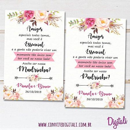 Convite Padrinhos Casamento Rosa Florido - Arte Digital