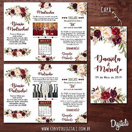 Manual para Padrinhos Casamento Marsala Florido - Arte Digital