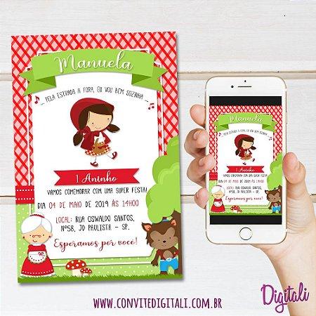 Convite Chapeuzinho Vermelho - Arte Digital