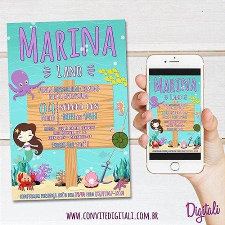 Convite Fundo do Mar Menina - Arte Digital