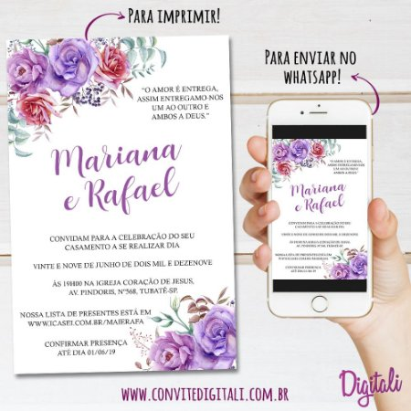 Convite Casamento Lilás Roxo Florido - Arte Digital