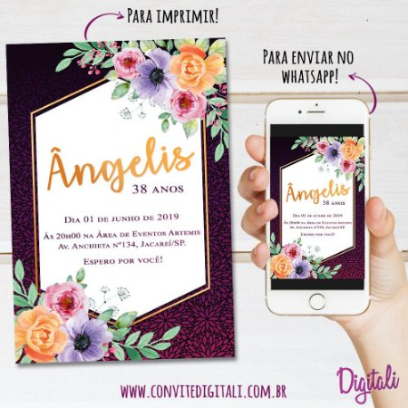 Convite Aniversário Florido - Arte Digital