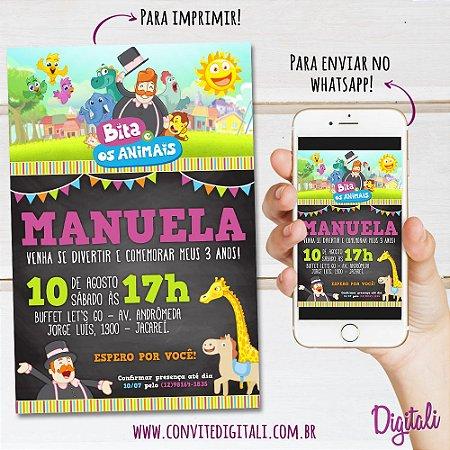 Convite Mundo Bita e os Animais Chalkboard - Arte Digital