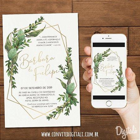 Convite Casamento Folhagem Greenery - Arte Digital