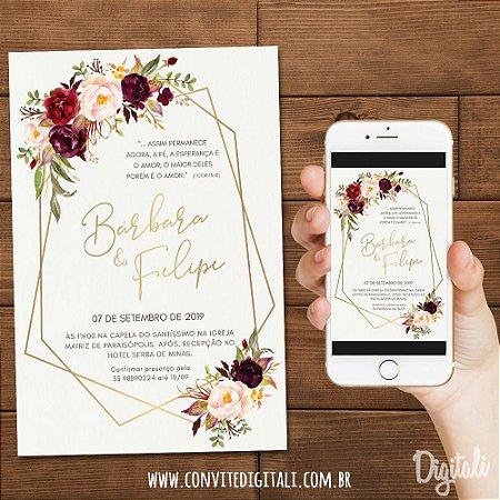Convite Casamento Marsala Florido - Arte Digital