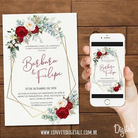 Convite Casamento Vermelho e Branco Florido - Arte Digital