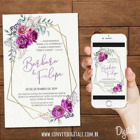 Convite Casamento Rosa Roxo Florido - Arte Digital