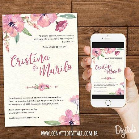 Convite Florido Rosa - Arte Digital