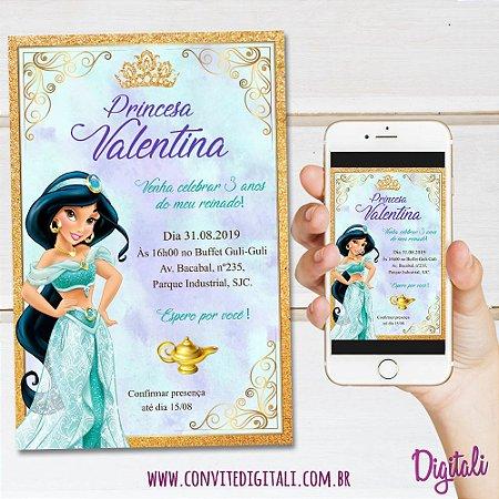 Convite Princesa Jasmine - Arte Digital