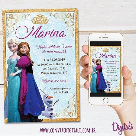 Convite Frozen - Arte Digital
