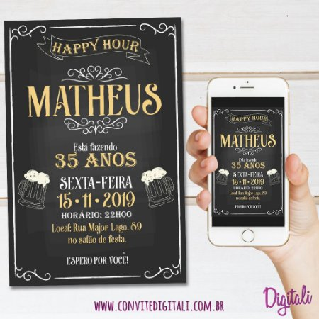 Convite Happy Hour Chopp Chalkboard - Arte Digital