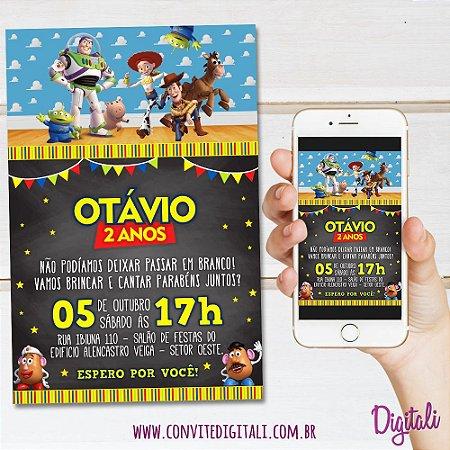 Convite Toy Story Chalkboard Lousa - Arte Digital