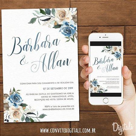 Convite Florido Azul e Champanhe - Arte Digital