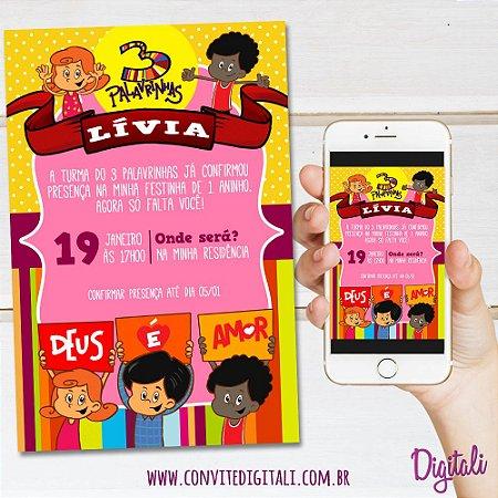 Convite 3 palavrinhas - Arte Digital