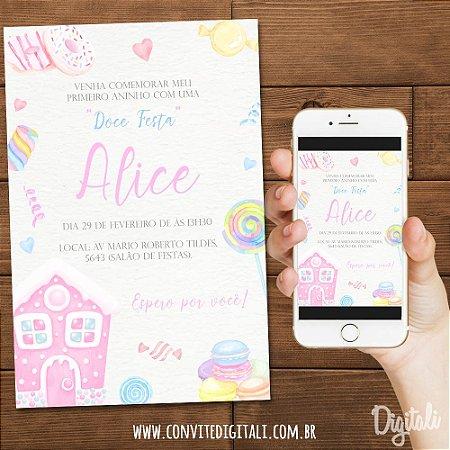 Convite Doce Candy Colors - Arte Digital