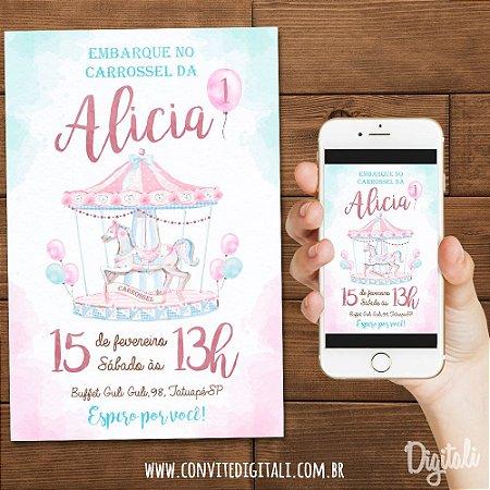 Convite Carrossel Encantado - Arte Digital