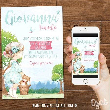 Convite Menininha Bosque Encantado - Arte Digital