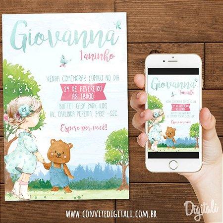 Convite Menina e Urso Bosque Encantado - Arte Digital