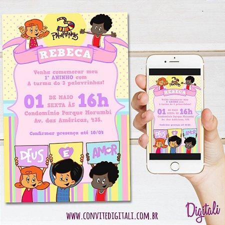 Convite 3 palavrinhas Candy Colors - Arte Digital