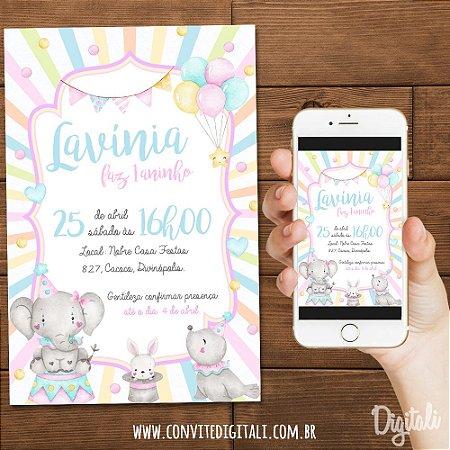 Convite Circo Candy Colors Aquarela - Arte Digital