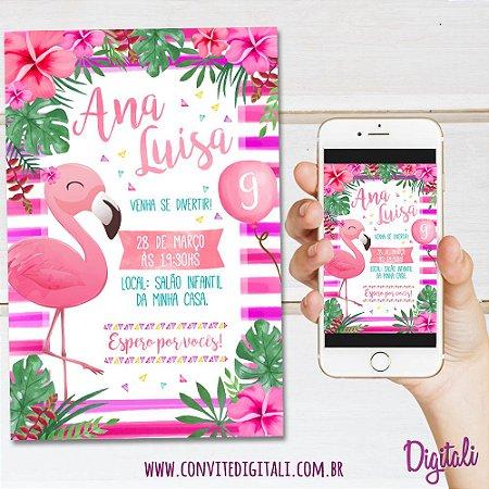 Convite Flamingo Aquarela - Arte Digital