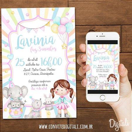 Convite Palhacinha Circo Candy Colors Aquarela - Arte Digital