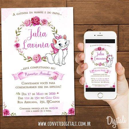 Convite Gatinha Marie no Jardim Aquarela - Arte Digital