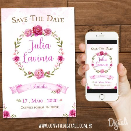 Save The Date Jardim Rosa Aquarela - Arte Digital