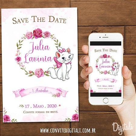 Save The Date Gatinha Marie no Jardim  Aquarela - Arte Digital