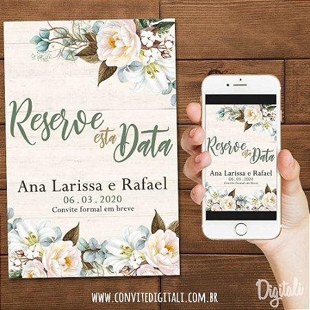 Save the Date Casamento Rústico Florido - Arte Digital