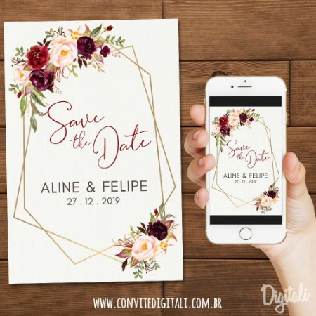 Save The Date Casamento Marsala Florido - Arte Digital
