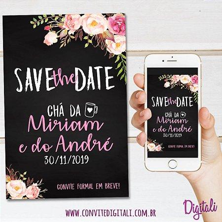 Save the Date Chá de Panela Chalkboard - Arte Digital