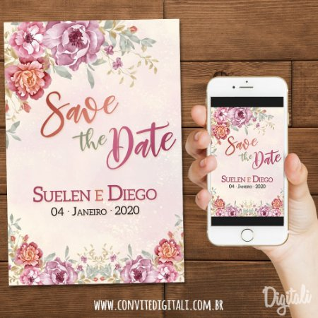 Save the Date Casamento Violeta e Coral - Arte Digital