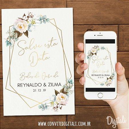 Save the Date Bodas de Ouro Rústico Florido - Arte Digital