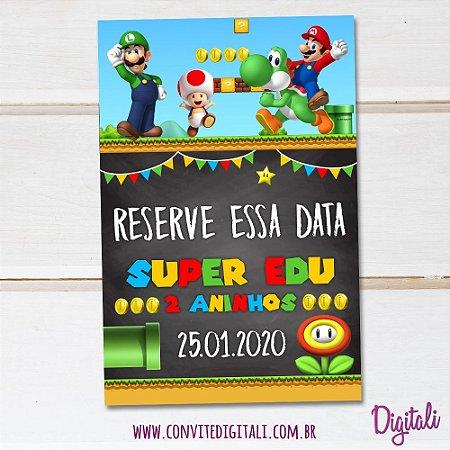 Save the Date Super Mario Bros Chalkboard - Arte Digital
