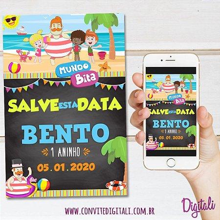 Save the Date Mundo Bita Praia Chalkboard Lousa - Arte Digital