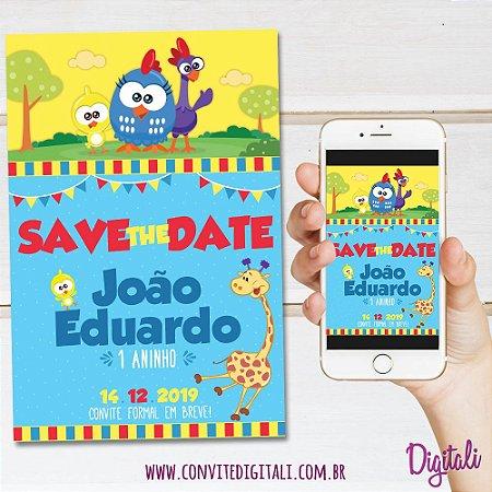 Save the Date Galinha Pintadinha Mini - Arte Digital