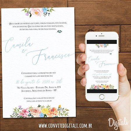 Convite Casamento Florido Colorido Aquarela - Arte Digital