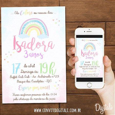 Convite Arco-íris Aquarela Tons Pastéis - Arte Digital
