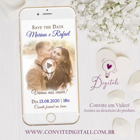 Save the Date Animado em Vídeo para Casamento com Foto - Azul Royal