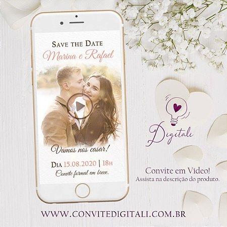 Save the Date Animado em Vídeo para Casamento com Foto - Living Coral