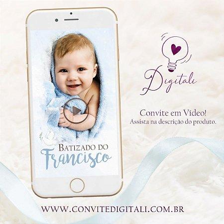 Convite para Batizado Animado em Vídeo com Foto - Azul
