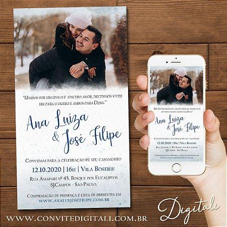 Convite Casamento com Foto Aquarela - Arte Digital