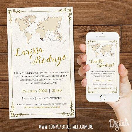 Convite Casamento Viagem - Arte Digital