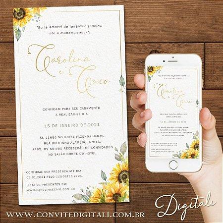 Convite Girassol Aquarela Delicado - Arte Digital