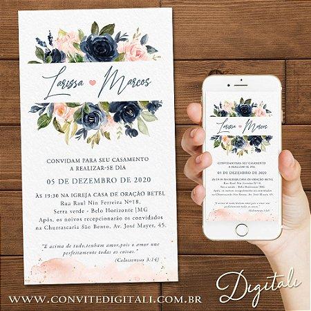 Convite Casamento Florido Rosa e Azul Escuro - Arte Digital