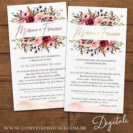 Convite Casamento Florido Rosa Chá e Dourado - Arte Digital