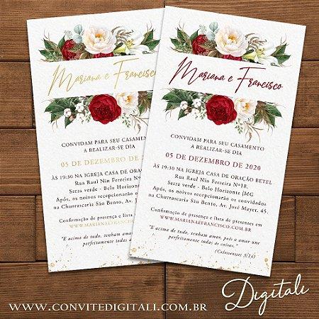 Convite Casamento Florido Vermelho e Branco - Arte Digital