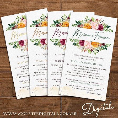 Convite Casamento Florido - Arte Digital